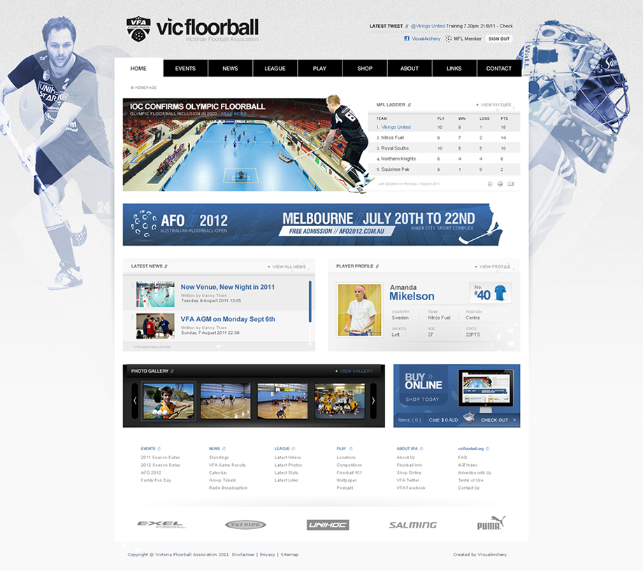 Victoria Floorball Website Concept
