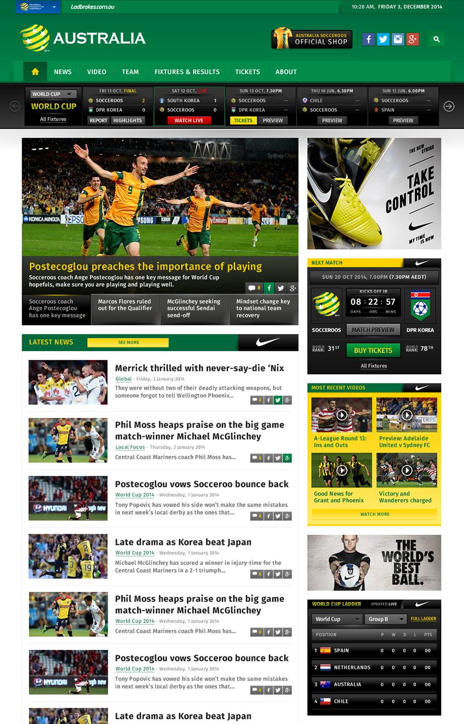 Australian Socceroos Website