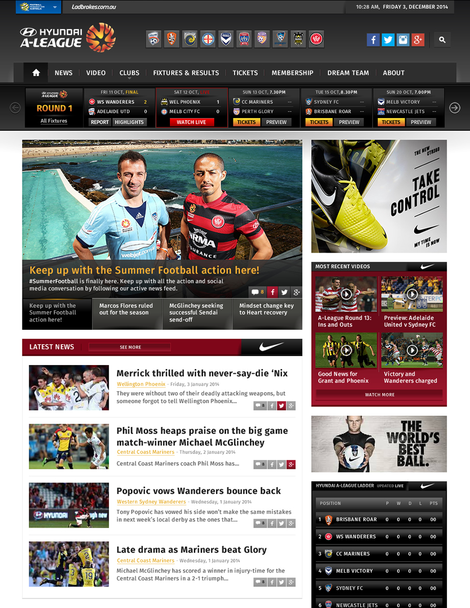A-League Website